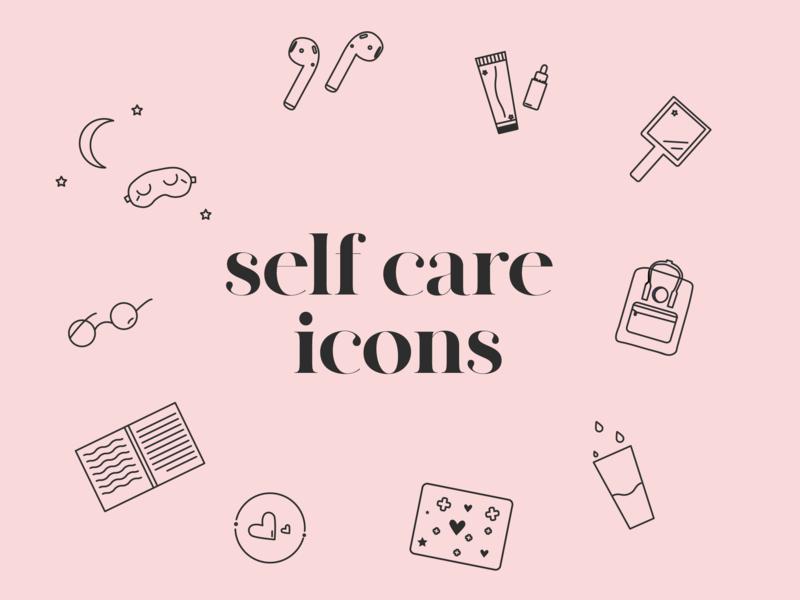 Self Care Icons minimal vector artwork vector art web app ux icon ui branding illustration line art line vector vector graphic design design