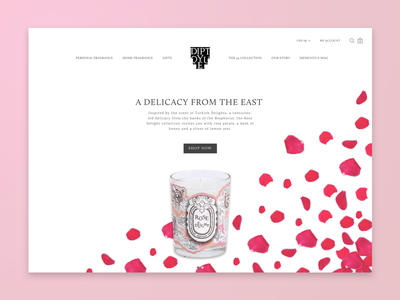 Landing Page (option 2) ux ui rose delight landing page ecommerce diptyque design daily ui candle 003