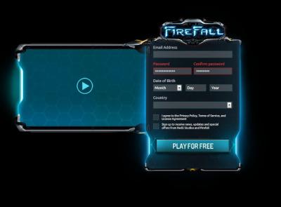 Firefall Website video form blue glow fps scifi fui