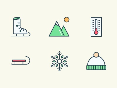 Winter icons extended sled mountains icon snowflake design branding illustration flat icons winter