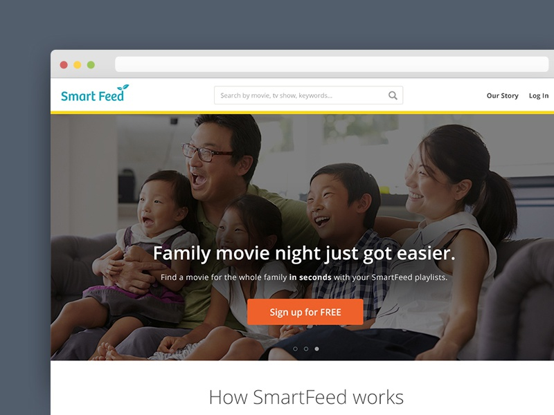 Smart Feed Landing Page landing page family ui ux education