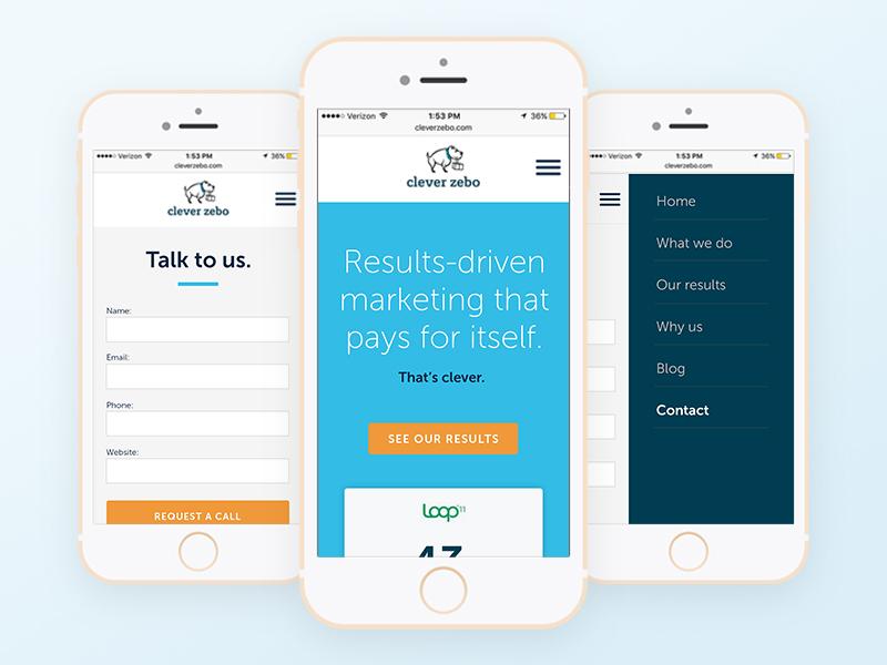 Responsive website redesign ui blue contact form menu redesign marketing mobile responsive
