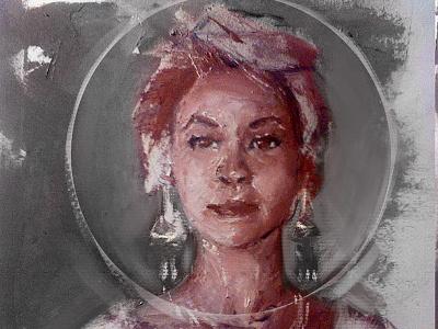 Oil Comp portrait woman red grey