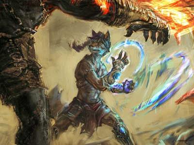 WIP: Korath v. Seiko fox magic charcoal photoshop