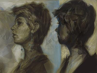 WIP: Retro alchemy photoshop digital painting portrait female women