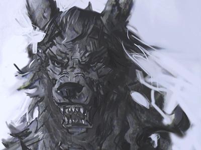 WIP: Hjoldir charcoal ink graphite photoshop werewolf wolf portrait painting creature