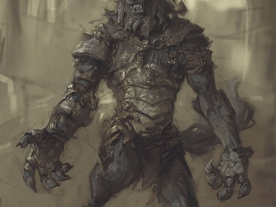 WIP1: Hjoldir charcoal ink graphite photoshop werewolf wolf painting creature armor fighter character design