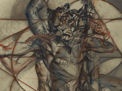 Legacy VII tiger animal complimentary orange blue sacred geometry seed of life