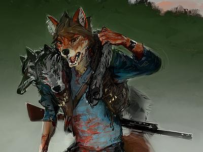 I Am A Wolf photoshop alchemy painting illustration trees pelt hunter anthro fox blood gun
