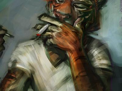 Smoking Tiger shot smoking anthro animal man tiger portrait painting digital fashion