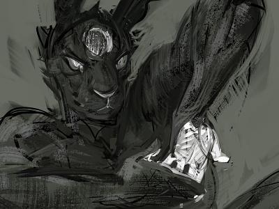 Resin V (WIP) painting illustration figurative animal anthro rabbit hare white black