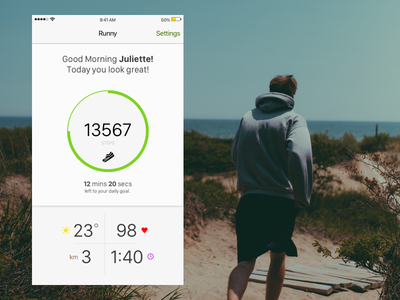 Runny iOS App - Concept app ios steps distance weather hearth rate running health