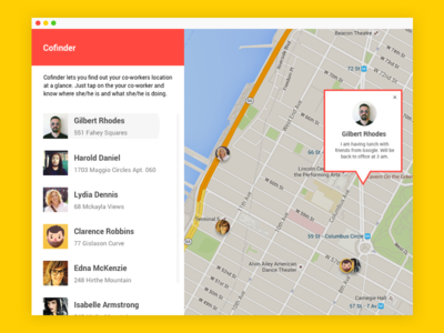 Cofinder - Where is your coworkers? location map place where cofinder app mac concept