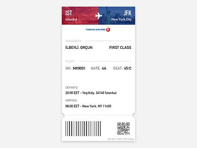 Boarding Pass - DailyUI 024 turkey usa new york istanbul ist jfk airline airport boarding pass dailyui