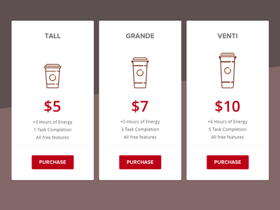 Coffee Pricing - DailyUI 30 compare purchase buy dailyui pricing coffee