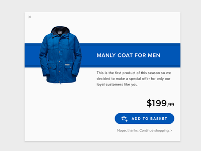 Special Offer - Daily UI 036 blue clothing cta modal pop up e commerce special offer