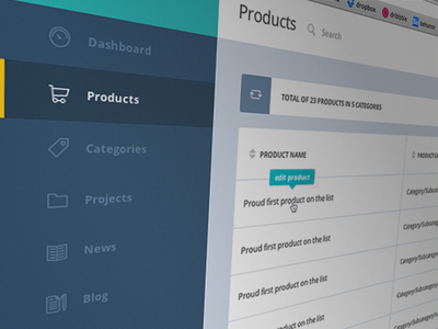 Effortless CMS cms web design clean interface dashboard flat products user table