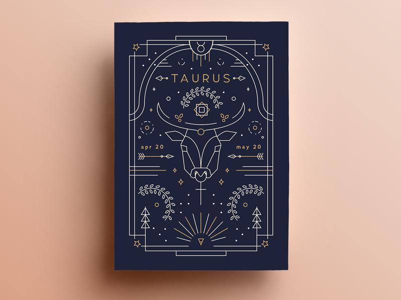 Taurus Poster Update outline print horoscope illustration line zodiac poster