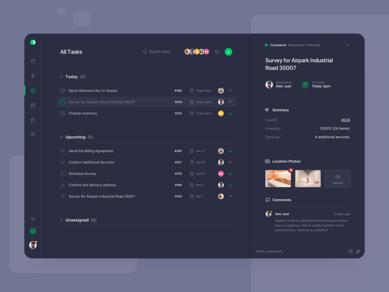 Sales Tasks - Dark Mode task list task app task management task dark ui dark app colours web clean interface design ux ui app