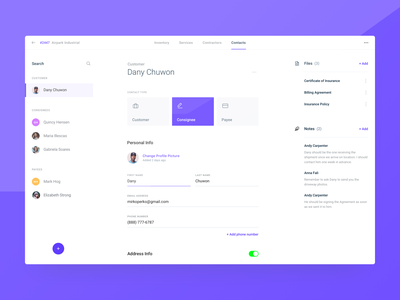 Lead - Contacts Page V2 form contacts app ui ux design flat interface typography clean colours crm sales tool lead page dasboard overview profile