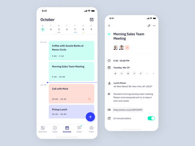 Indigo DS - Schedule clean type typography interaction icon flat calendar mobile ios event app event schedule uikits design system colours interface app ui