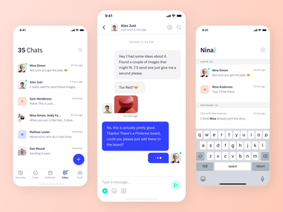 Indigo DS - Chats search message inbox contacts chat chat app ui app interface colours design system uikits ios mobile flat icon interaction typography type clean