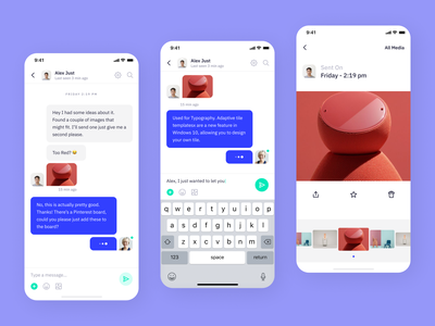 Indigo Ds - Chats 2 clean type typography interaction icon flat mobile ios uikits design system colours interface app ui chat app chat contacts inbox message search