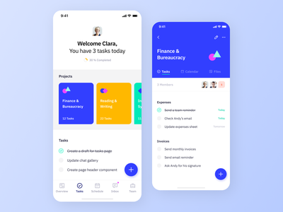 Indigo Ds - Tasks interaction design system ios mobile ux clean typography vibrant project task app task colours interface ui app