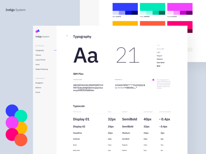 Indigo DS - Styleguide Light table grid type specimen ui ibm plex design system styleguide branding colours app clean typography interface