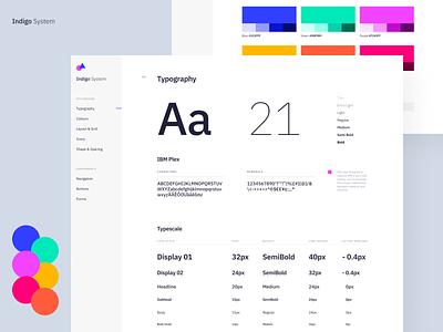 Indigo DS - Styleguide Light table grid type specimen ui ibm plex design system styleguide branding colours app clean typography interface