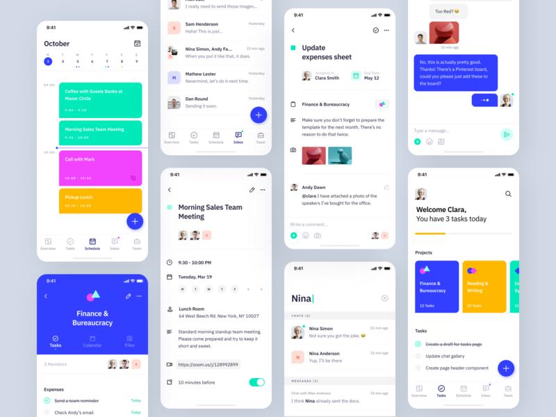 Indigo Ds - Grid 2 mobile ios clean design system colours vibrant projects inbox chat task list tasks calendar schedule interface app ux ui