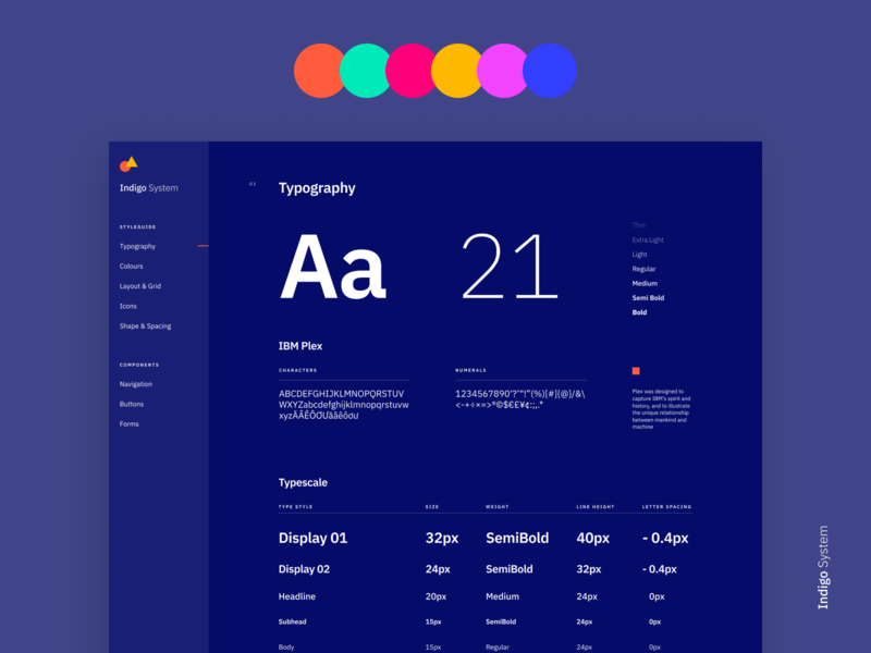 Indigo DS - Styleguide Dark interface typography clean app colours branding styleguide design system ibm plex ui type specimen grid table
