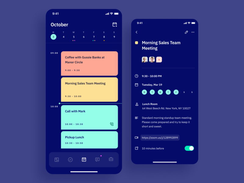 Indigo DS - Schedule Dark vibrant type ios ux typography calendar app calendar schedule dark mode dark ui dark mobile app colours clean interface ui
