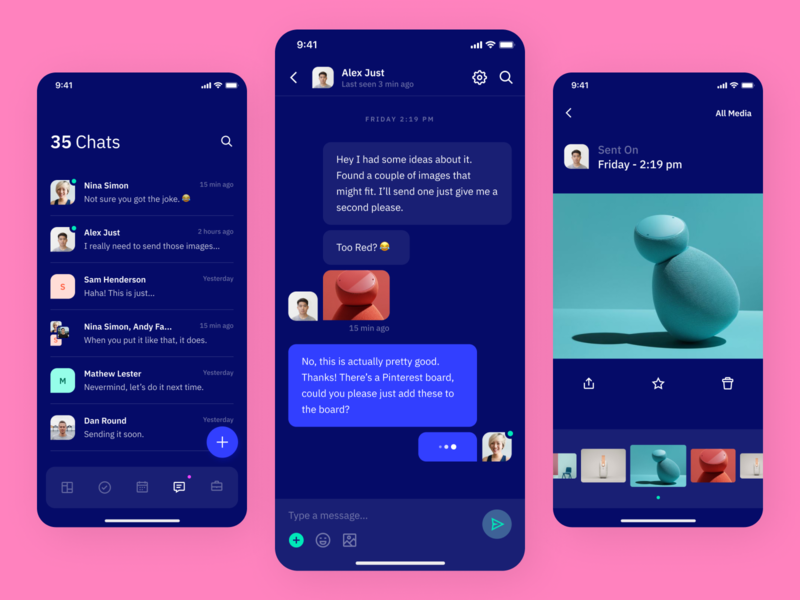 Indigo DS Chat - Dark avatar gallery ios mobile typography vibrant chat app chat colours clean interface ux app ui