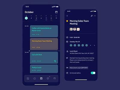 Indigo DS - Schedule Neon ui interface clean colours app mobile dark dark ui dark mode schedule calendar calendar app typography ux ios type vibrant