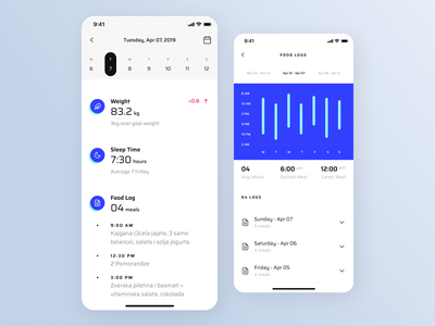 The Club - Client Logs icon ux datepicker date tabs calendar charts chart mobile ui mobile ios fitness app fitness workout clean interface app ui