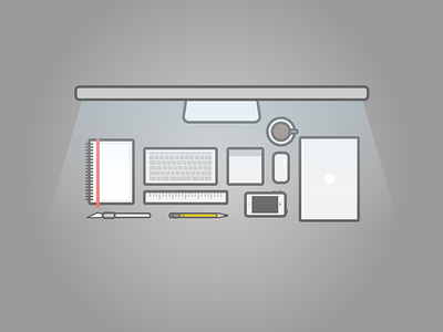 Workspace workspace desk macbook air imac ruler trackpad magic mouse coffee iphone pencil xacto knife sketchbook illustration vector line drawing