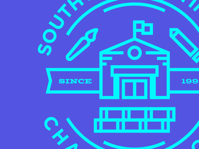 Charter School stamp books flag pencil brush line-work illustration schoolhouse school