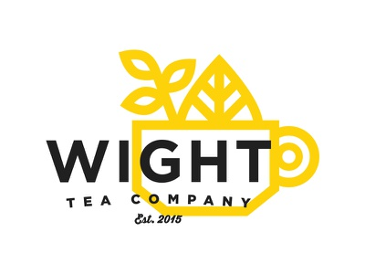 Wight Tea Company line illustration logo cup mug twig leafs loose leaf company tea
