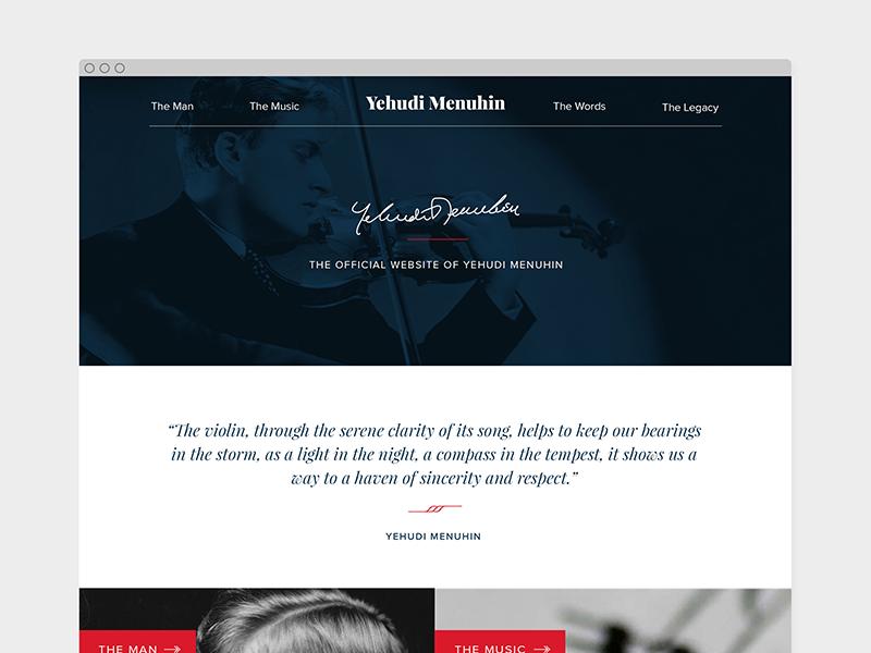 Yehudi Menuhin website conductor violinist violin classical music music musician homepage responsive design