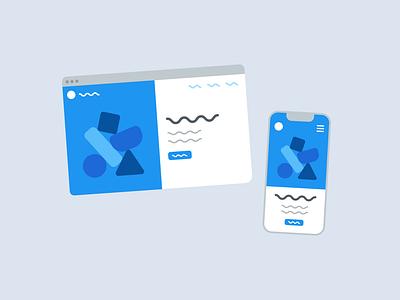 Desktop and Mobile Website Illustration website blue web illustration ux ui branding design illustrator minimal simple