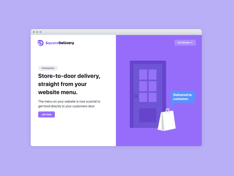 SquareDelivery Landing Page