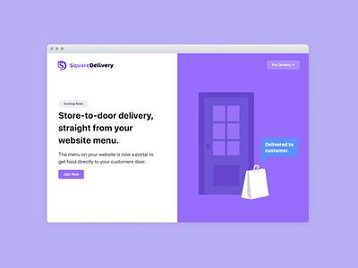 SquareDelivery Landing Page design simple illustration website design purple minimal landingpage landing websites website ui
