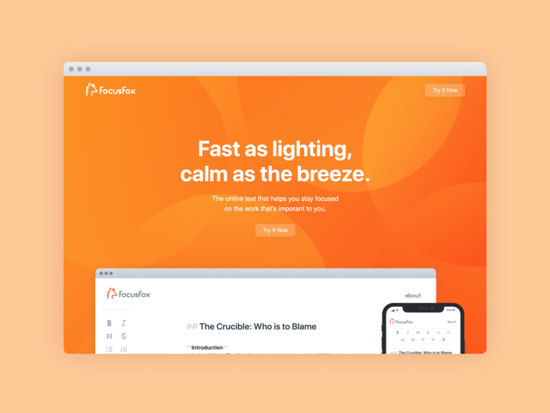FocusFox Landing Page