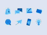 Icons for my personal portfolio illustration icon branding design simple minimal blue iconset illustrations icons portfolio