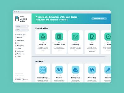 The Design Index design simple ux ui website design tools directory resources