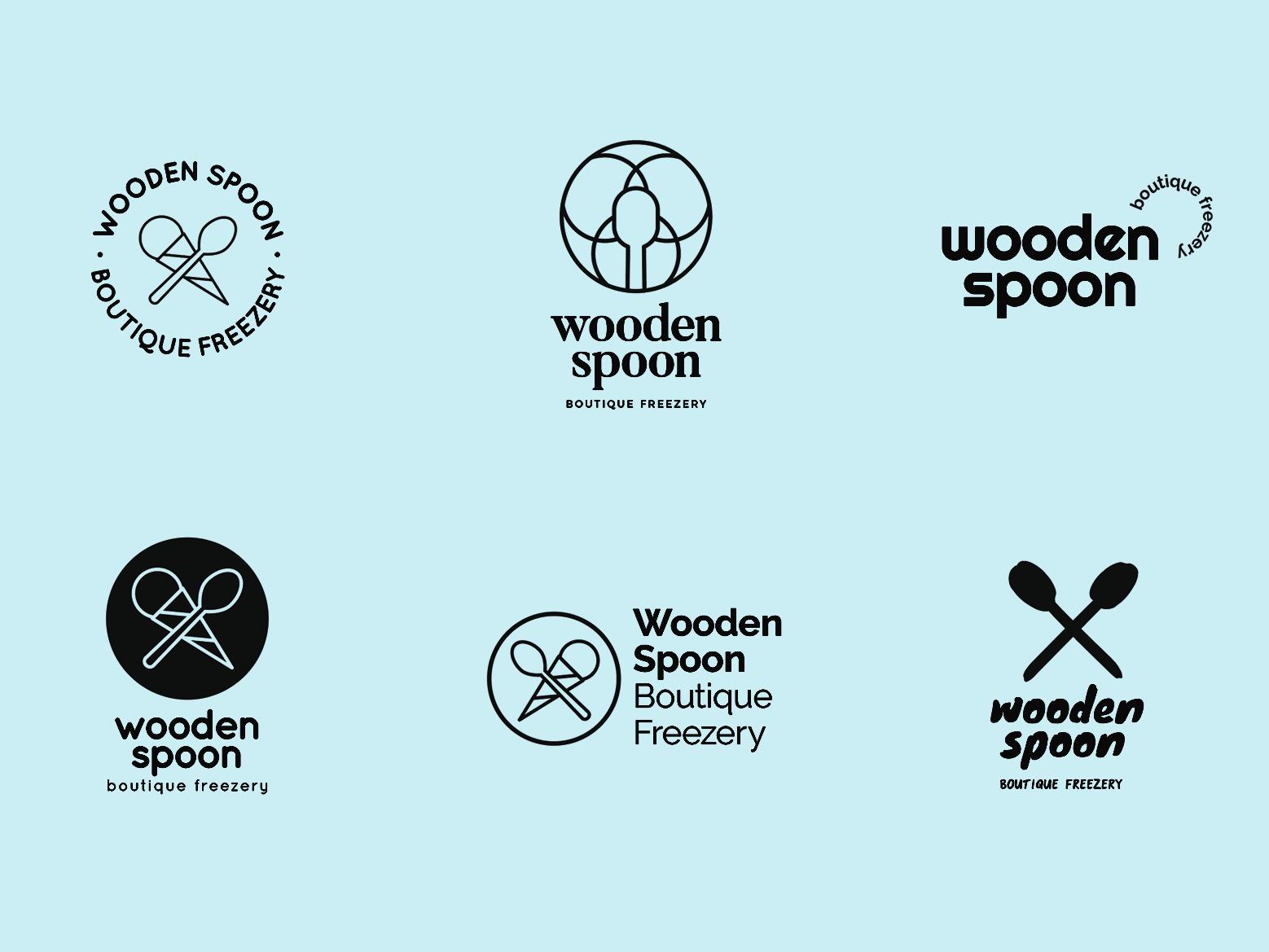 Wooden Spoon logo options ice cream icon logo daily branding design simple