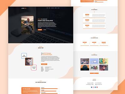 Resume Orange Theme mockup adobe xd portfolio website portfolio page portfolio design portfolio site portfolio card resume template resume design resume cv resume
