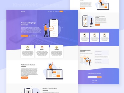 Product Landing Page Template svg images purple gradient blue graient blue theme purple theme sass css3 html template html5 material design one page website one page template one page design one page site onepage product landing page product page