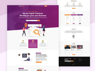 Digital Agency Landing Page Design purple gradient bootstrap 4 one page website one page design one page site one page landing page